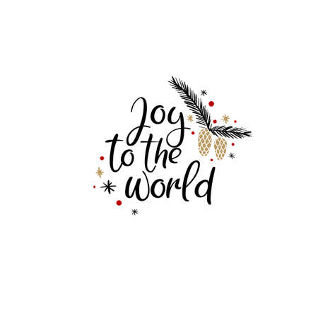 Joy to the World Hand Lettering Greeting Card. Vector Illistration. Modern Calligraphy. Stock Illustratie