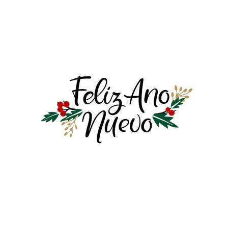 Feliz Ano Nuevo Hand Lettering Greeting Card. Happy New Year in Spanish. Vector Illistration. Modern Calligraphy.