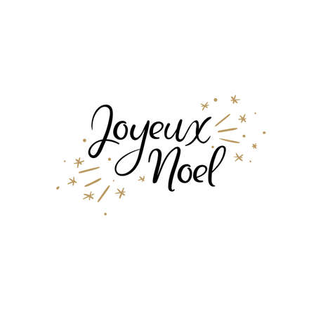 Joyeux Noel Hand Lettering Greeting Card. Merry Christmas in French. Vector Illistration. Modern Calligraphy. Illustration