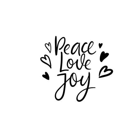 Peace love joy. Christmas calligraphy. Handwritten brush lettering for greeting card, poster, invitation, banner. Hand drawn design elements. Isolated on white background.