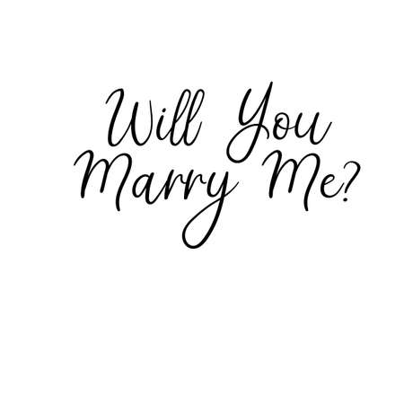 Will You Marry Me Hand Lettering Greeting Card. Vettoriali