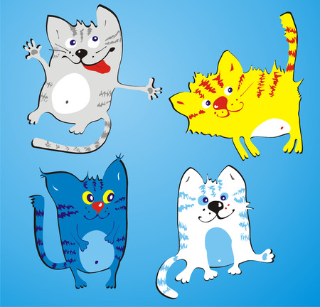 jaunty: Four amusing cats on a blue background