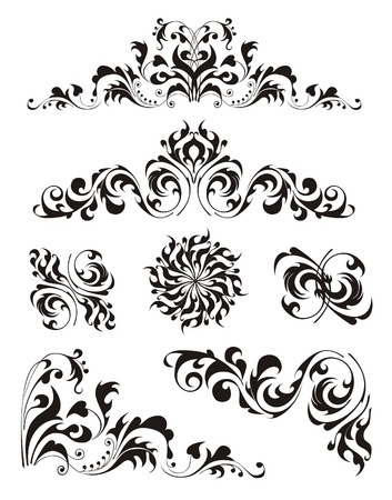 The black decorative curls  Stock Vector - 5802354