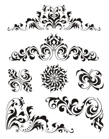 black swirls: The black decorative curls