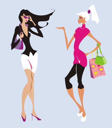 Two beautiful fashion women go shopping Illustration