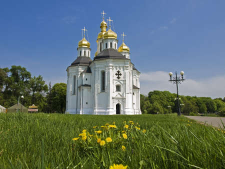 Church of St  Catherine in Chernigov, Ukraine  White building on the lawn of grass and yellow dandelions  Stock Photo