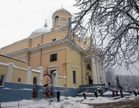 Alexanders Church in Kiev, Ukraine. Winter. The branches of the tree in the foreground - in frost.