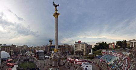 Kiev, Ukraine. Football Championship UEFA EURO 2012. Fan Zone at Independence Square.