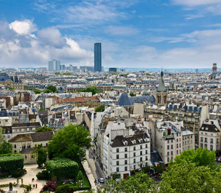 Paris. View of the Latin Quarter and Montparnasse, with Notre Dame