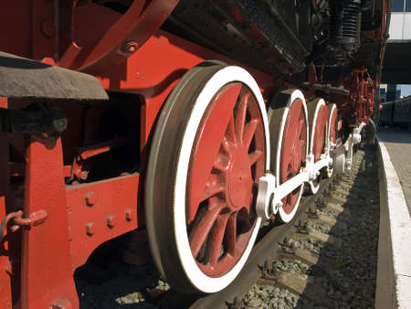 locomotive mid-twentieth century. Wheels up close. Stock Photo