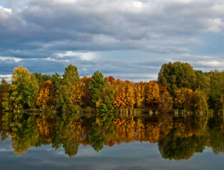 Autumn  Red and green trees reflected in the calm surface of the lake  The sky is clouded over