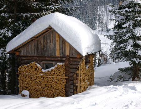 Small wooden house in a forest on the slopes. Roof littered with snow. Firewood stacked along the walls to the top. Carpathians. Ukraine       Stock Photo