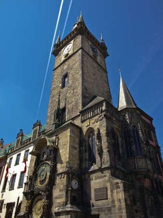 Tower of the Old Town Hall in Prague, Czech Republic  Southern wall with  the astronomical clock  Stock Photo - 18080036