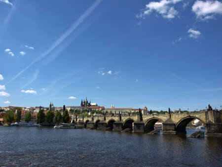 View from the right bank of the Charles Bridge, Prague Castle and the Cathedral St.Vitus. Prague, Czech Republic Stock Photo - 18140638