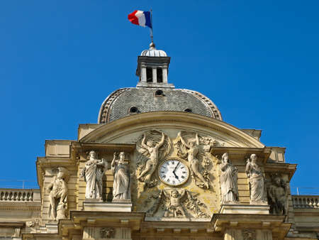 Clock and sculpture on the facade of the Luxembourg Palace  Paris, France  Stock Photo