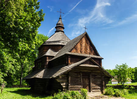 Authentic wooden church of historical area of Podolia  1817  The biggest open air museum in Europe - National Museum of Ukrainian Architecture and Culture Pyrogovo  Kiev, Ukraine