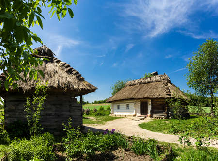 ethnographical: Authentic Ukrainian rural farmstead, 19th century  Wooden houses with thatched roofs  The biggest open air museum in Europe - National Museum of Ukrainian Architecture and Culture Pyrogovo, Kiev, Ukraine