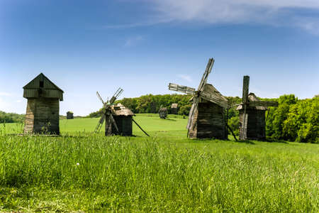 ethnographical: Authentic wooden mills from different regions of Ukraine  Stock Photo
