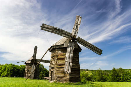 Authentic wooden mills from different regions of Ukraine  Stock Photo