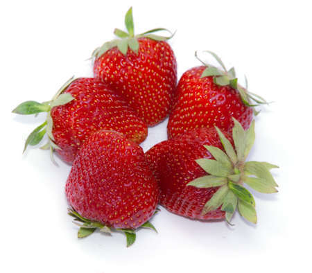 five strawberries. On a white background.