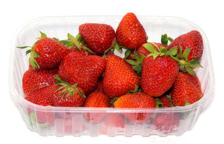 transparent plastic tray with freshly picked strawberries. photo