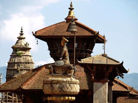 Bronze sculpture of King Bhupatindra Malla. Bhaktapur Durbar Square in Nepal. Stock Photo