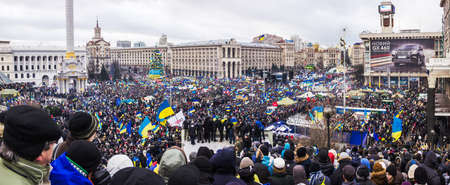 Kyiv, Ukraine, December 8, 2013: people at a meeting for the European integration and the resignation of the government in the center of Kiev.