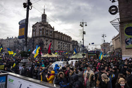 european integration: Kyiv, Ukraine, December 8, 2013: people at a meeting for the European integration and the resignation of the government in the center of Kiev.