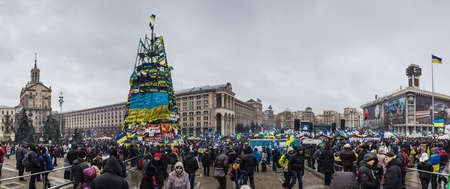 european integration: Kyiv, Ukraine, December 9, 2013: people at a rally for the European integration and the resignation of the government in the center of Kiev.  Editorial