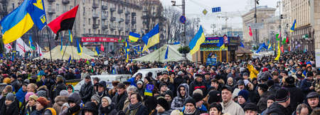 european integration: Kyiv, Ukraine, December 8, 2013: people at a rally for the European integration and the resignation of the government in the center of Kiev.