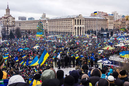 Kyiv, Ukraine, December 8, 2013: people at a rally for the European integration and the resignation of the government in the center of Kiev.