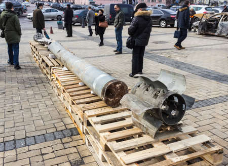 Fragments of the missile BM-30 Smerch fired by the city Kramatorsk. Exhibition of Russian weapons, brought from the combat zone in the Donbass. Kiev, Michaels Square, February 2015