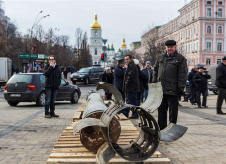 donbass: Fragments of the missile BM-30 Smerch fired by the city Kramatorsk. Exhibition of Russian weapons, brought from the combat zone in the Donbass. Kiev, Michaels Square, February 2015
