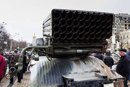 Guides for missiles multiple rocket launchers BM-21 Grad. Exhibition of Russian weapons, brought from the combat zone in the Donbass. Kiev, Michaels Square, February 2015 Stok Fotoğraf - 37133357