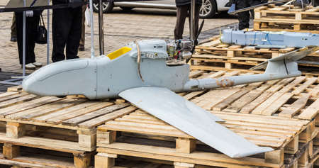 donbass: Unmanned aerial vehicle produced in Russia, was shot down over the combat zone in eastern Ukraine.  Exhibition of Russian weapons, brought from the combat zone in the Donbass. Kiev, Michaels Square, February 2015