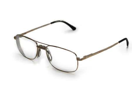 rectification: Mens glasses in the thin rim of yellow color on a light background