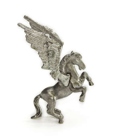 pewter: Pewter figurine of Pegasus on a light background