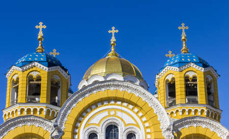 sanctity: The domes of St. Vladimir Cathedral in Kyiv, Ukraine. Stock Photo