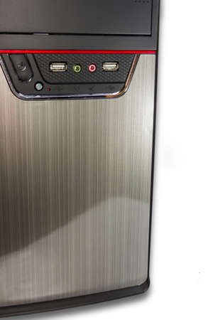 computer case: Fragment of the front panel of the computer case desktop on a light background