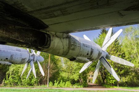 faulty: Propeller-engine powerplant. Old faulty strategic soviet bomber Tu-95 (Bear) on the former airbase Uzin, Ukraine Editorial