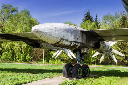 chassis: Propeller-engine powerplant and chassis. Old faulty strategic soviet bomber Tu-95 (Bear) on the former airbase Uzin, Ukraine