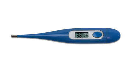 isolation: Electronic medical thermometer with LCD in the body of blue color on a light background. Isolation.