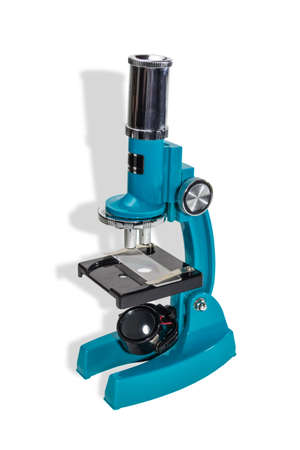 hull: Specular microscope for schoolboy with a blue hull on a light background. Isolation.