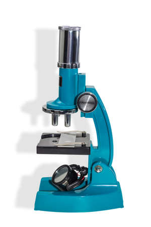 Specular microscope for schoolboy with a blue hull on a light background. Isolation.