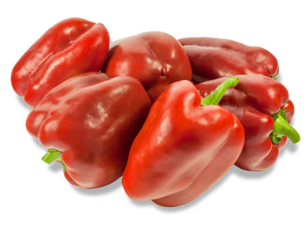 bell peppers: Several fresh red bell peppers on a light background. Isolation. Stock Photo