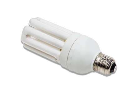 thrifty: Energy-saving fluorescent electric light bulb on a light background. Isolation. Stock Photo