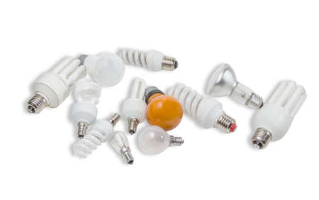 contemporaneous: Several electric lamps different sizes and different designs with flasks of different shapes on a light background. Isolation.