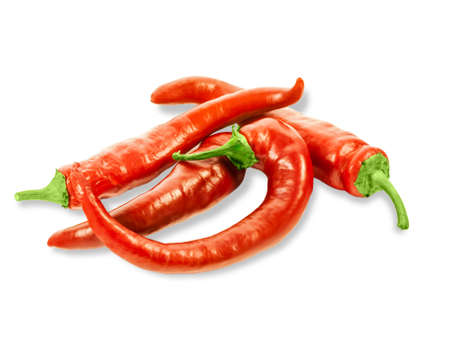 red chilly: Several fresh red peppers chilly on a light background. Isolation.