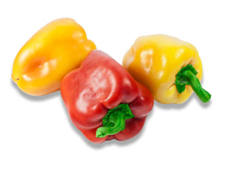 bell peppers: Two yellow and red fresh bell peppers on a light background. Isolation.