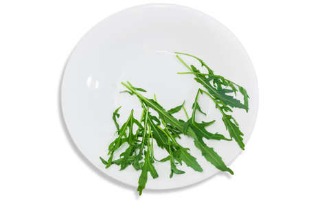 greenness: Fresh green leaves of arugula in a white plate on a light background. Isolation.